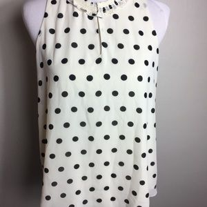 Rose & Olive Sleeveless Polka Dot Blouse